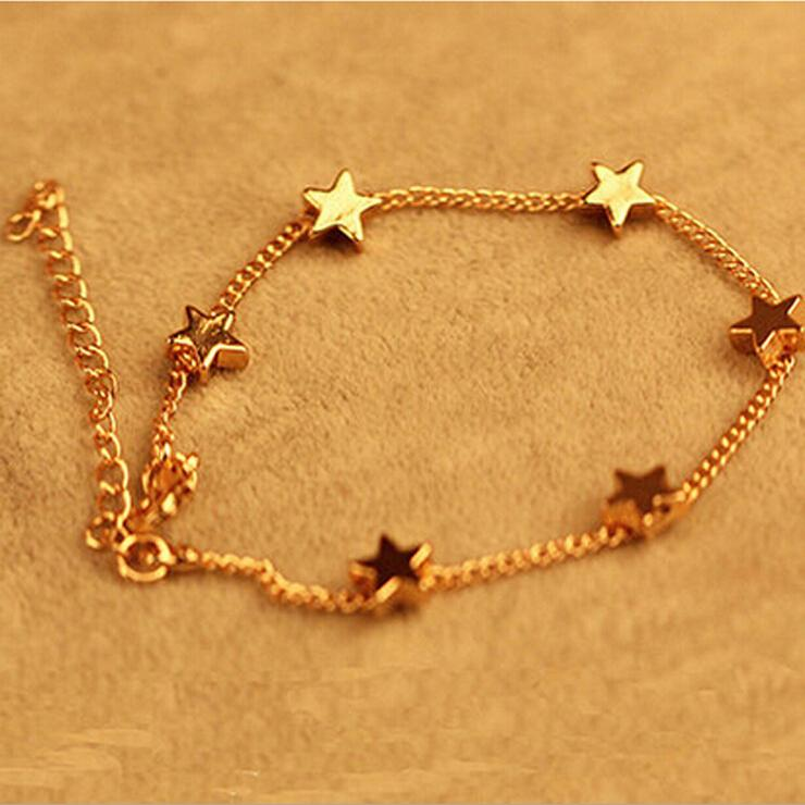 New Lady Girls Bangle Simple Golden Filled Chic Heart Trendy Stars ...