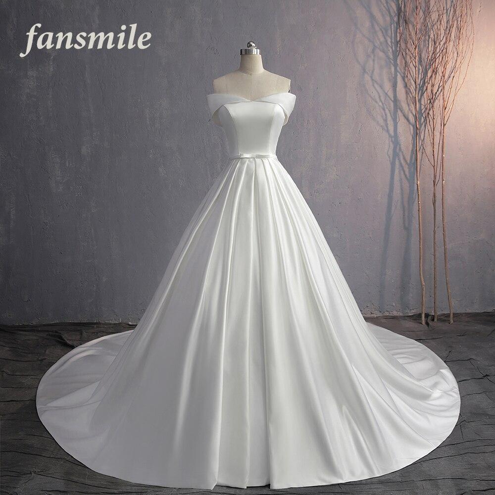 Fansmile 2019 Vestido De Noiva Elegant Long Train Lustrous Satin Wedding Dress Custom Made Plus Size Bridal Dress FSM-586T