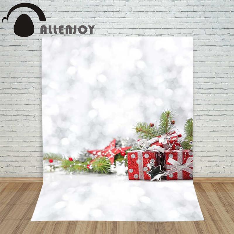 Allenjoy photography Background Christmas white Snowflake blur gifts stars backdrop for photo shoots studio photographic the girl with all the gifts