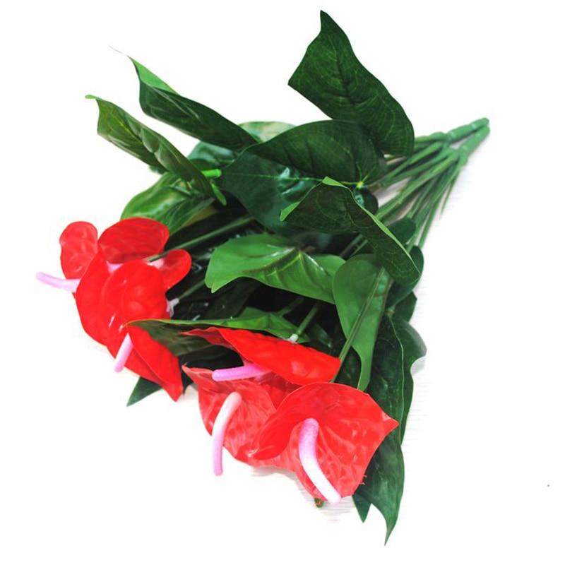 Artificial Flowers Silk Anthurium Bouquet Wedding Home Office Decoration Accessories For Vase Flower Arrangement