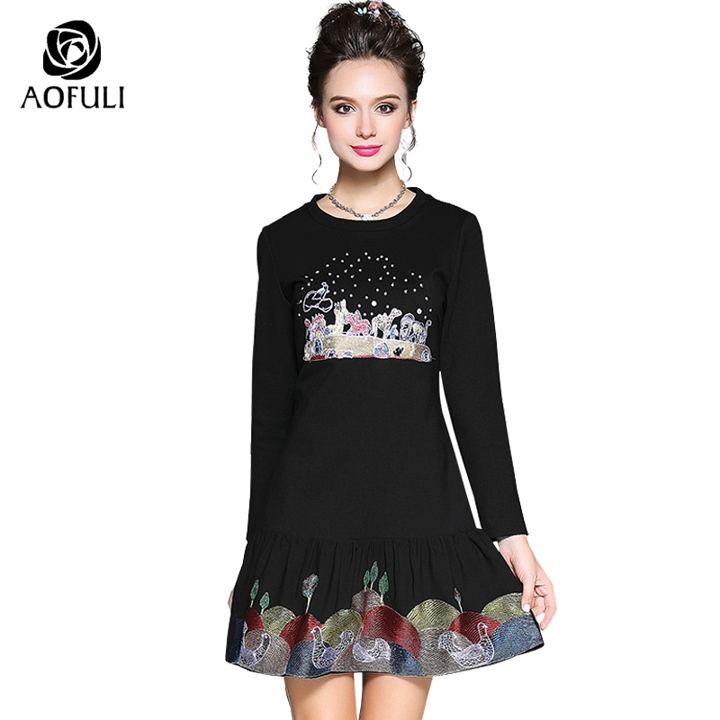 AOFULI L Xxxl 4xl 5xl Women Cartoon Embroidery Short Dress Casual Spring Long Sleeve Empire Waist