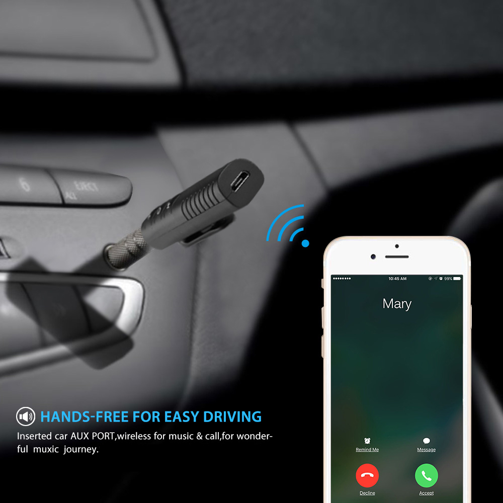 Bluetooth Earphone HandsFree Wireless Bluetooth Receiver Adapter 3.5mm Jack Car Aux Audio Music for Phones Speakers Headphones (1)