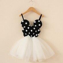 2017 summer girls (suspenders) dresses 2-6 year old birthday party fashion polka dot print beautif