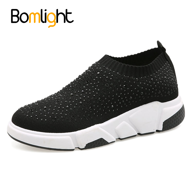 Bomlight Bling Crystal Women Casual Shoes Hot Ins Ladies Stretch Sneakers Woven Sock Shoes Female Slip On Flats Loafers sneakers