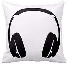 New Arrival Hip Hop Headphones Luxury Printing Style Square Pillowcase Throw Pillow Sham Nice Pillow Cover