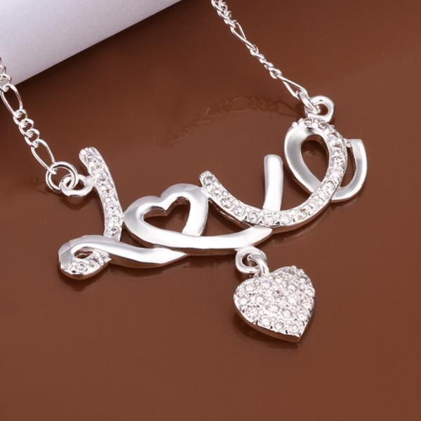 Fashion women crystal letter love hearts pendant necklace silver fashion women crystal letter love hearts pendant necklace silver plated chain crystal love heart choker necklace mozeypictures Images