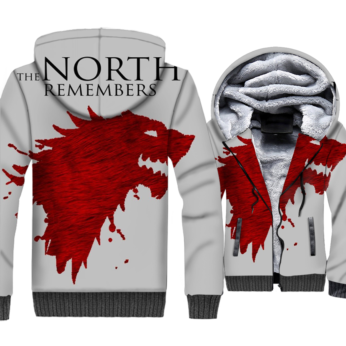 Game of Thrones sweat à capuche imprimé 3D homme le nord se souvient maison Stark sweat hiver épais polaire chaud Zip up manteau loup veste