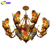 FUMAT Stained Glass Chandelier Creative Art Glass Butterfly Lamps Living Room Hotel Club Lights European style LED Chandeliers