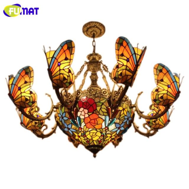 Fumat stained glass chandeliers creative art glass butterfly lamps fumat stained glass chandeliers creative art glass butterfly lamps for living room hotel lights european style aloadofball Gallery