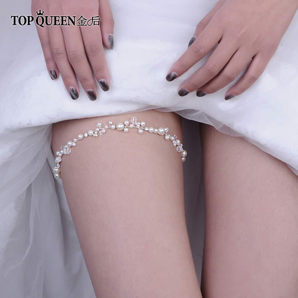 TOPQUEEN T03-S Wedding Garter Rhinestone Crystal Beading White Sexy Garters For Women/Female/Bride Thigh Ring Bridal Leg Garter