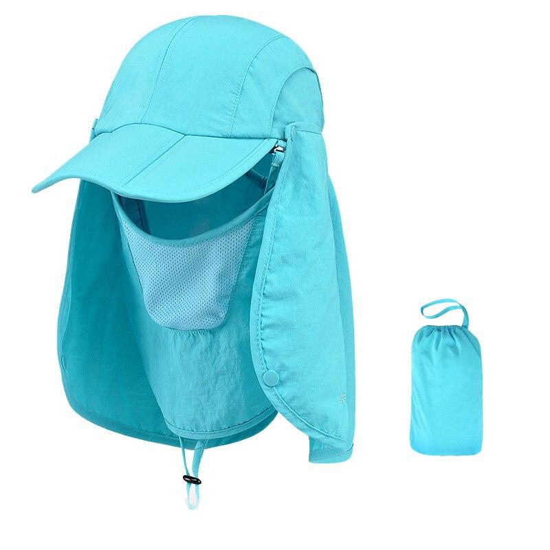 Уличная брендовая Рыбацкая походная Съемная Складная портативная Водонепроницаемая мужская шляпа-Панама женская шея с УФ-крышкой 7 цветов - Цвет: Blue