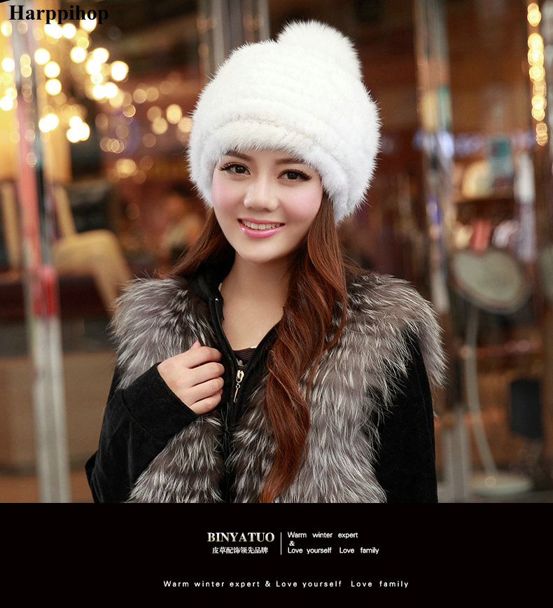 Harppihop fur real mink fur hat for women winter knitted mink fur beanies cap fox fur pom poms brand new thick female cap real mink fur hat for women winter knitted mink fur beanies cap fox fur pom poms brand new thick female cap