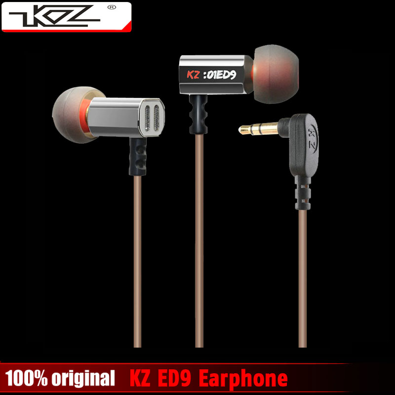 100% Original KZ ED9 3.5mm in ear Earphones Heavy Bass HIFI DJ Stereo Earplug noise isolating with Retailed Box