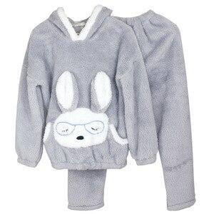 Image 4 - JULYS SONG Autumn Winter Pajamas Women Pajama Sets Flannel Pink Rabit Cartoon Thick Warm Women Sleepwear Cute Animal Homewear