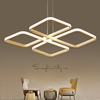 Square Lampadario Moderno Modern Led Pendant Chandelier Lights For Dining Living Kitchen Room White Color Aluminum