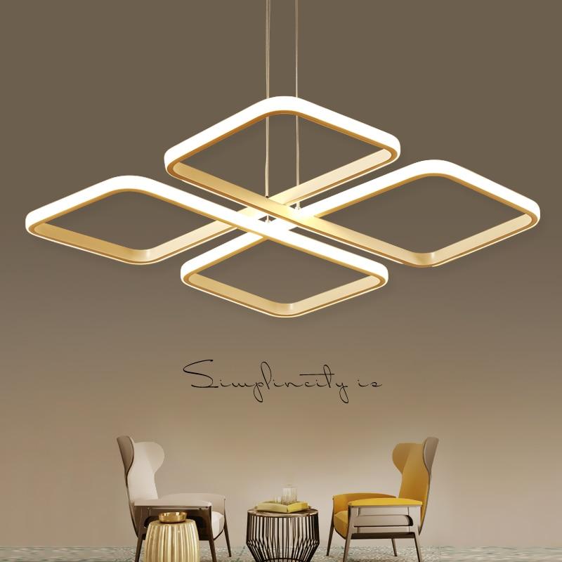 Square lampadario moderno Modern Led Pendant Chandelier Lights For Dining Living Kitchen Room White Color Aluminum Hanging Lamp