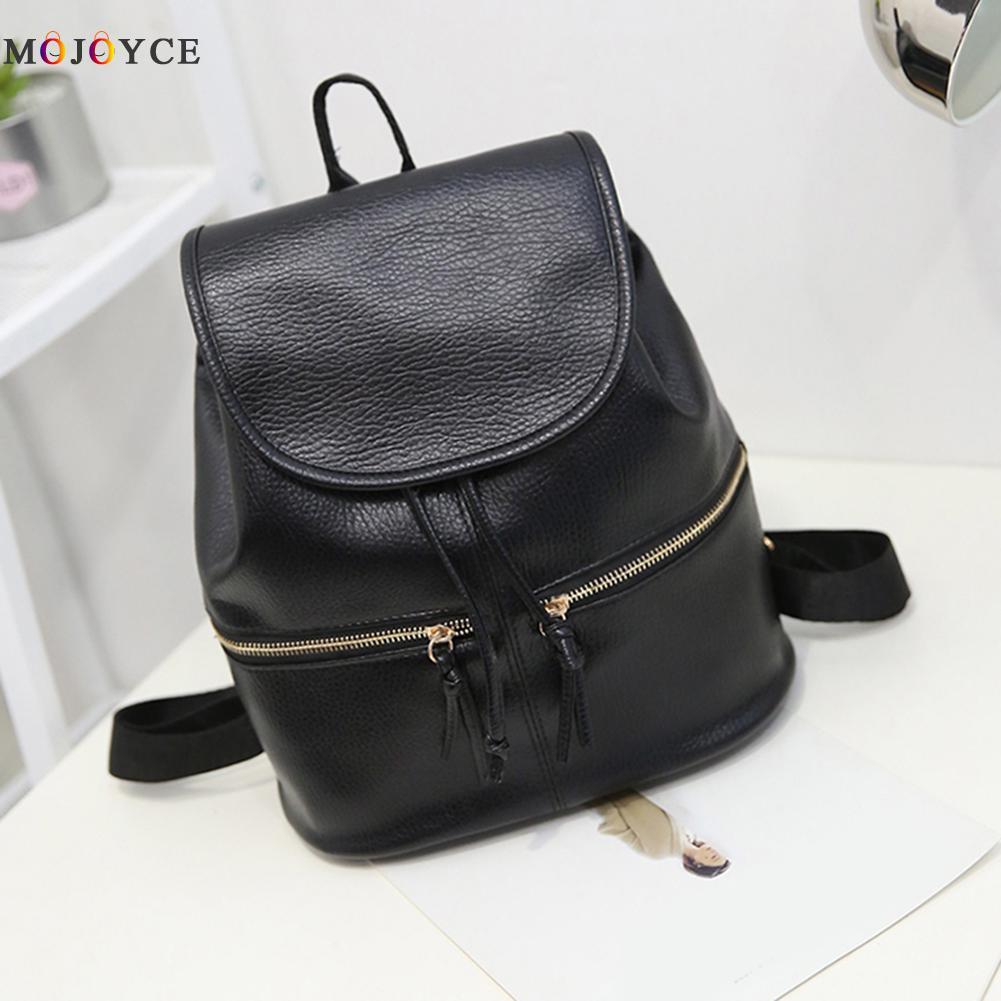 Soft Leather Women Backpack Korean Style Ladies Strap Daily Teenage Girl Back Pack Mochila Feminina