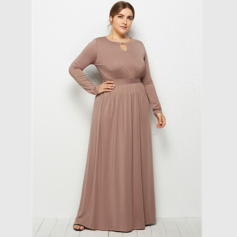 New hot South American fashion large size loose solid color long sleeved sexy round neck fat MM loose casual women 39 s dress in Dresses from Women 39 s Clothing