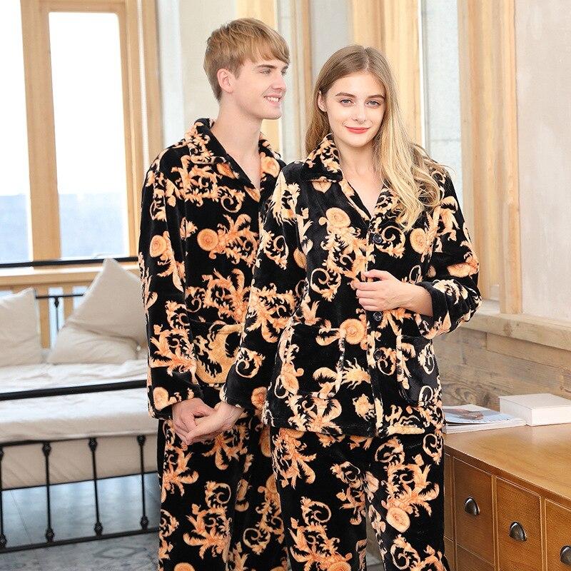 Männlichen Korallen Fleece Nachtwäsche Langarm Korallen Fleece Nachtwäsche Paare Pyjamas Winter Dame Flanell Homewear Warme Kleidung D-2128 Unterwäsche & Schlafanzug