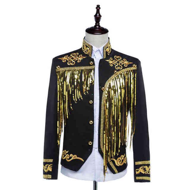 Мужская суд платье Принц костюмы Европейский Вышивка блестками костюм студия Испанский кисточкой этап Драмы спектакли Костюмы