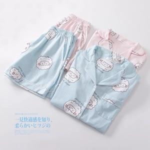 Image 2 - Camisetas y pantalones cortos con estampado de ovejas Bluecute rosa, pijamas para mujer, camisón de manga corta con estampado de dibujos animados para verano del 2019