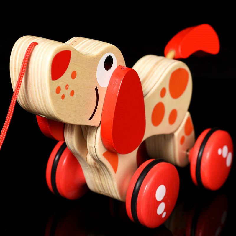 Toy Sports 1pcs Wooden Animal Pull Car Wheel Toy Canine Puppy Dog Puzzle Toddler Baby Walking Tails Wagging Climb Toys Gift For Toddler Toys & Hobbies