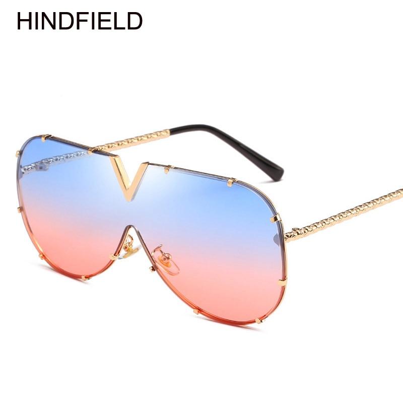 Gran tamaño claro gafas de sol mujer 2018 Italia marca marco grande ...