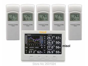 Misol/беспроводная погодная станция с 5 сенсорами, 5 каналами, цветным экраном, регистратором данных, подключением к ПК
