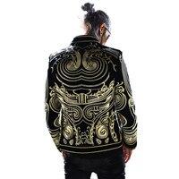 2018 Роскошные для мужчин пиджаки для женщин золото вышивать куртка Slim Fit Блейзер Костюмы Пальто Черный Европейский Стиль Dj певица хост