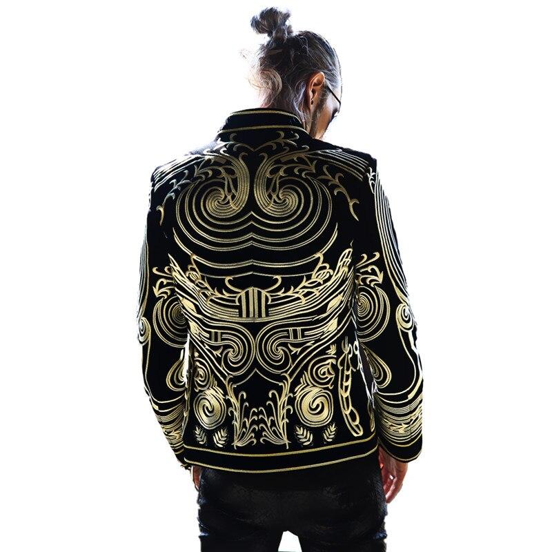 2019 Luxury Men Blazers Gold Embroider Jacket Slim Fit Blazer Suits Coat Black European Style Dj Male Singer Host Stage Costume