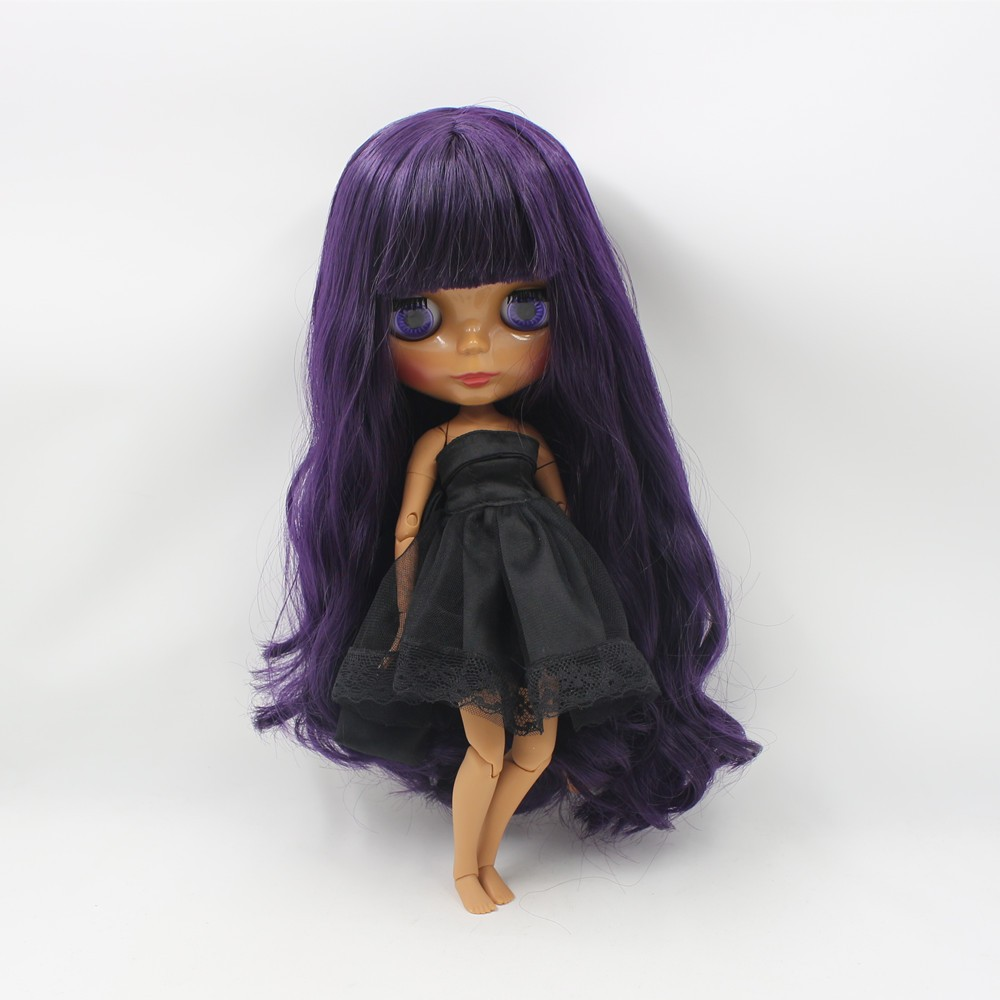 Neo Blythe Doll with Purple Hair, Dark Skin, Shiny Face & Jointed Body 1