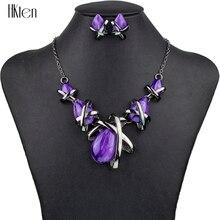 MS1504517 Conjuntos de Joyería de Moda de Alta Calidad 4 Colores Conjuntos de Collar de Joyería De Las Mujeres Negro zinc plateado Resina de Pera Único Diseño