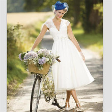 2019 Vintage Lace Short Country Wedding Dresses Cap Sleeve Tea Length Summer Beach Bridal Sexy V Neck Gowns
