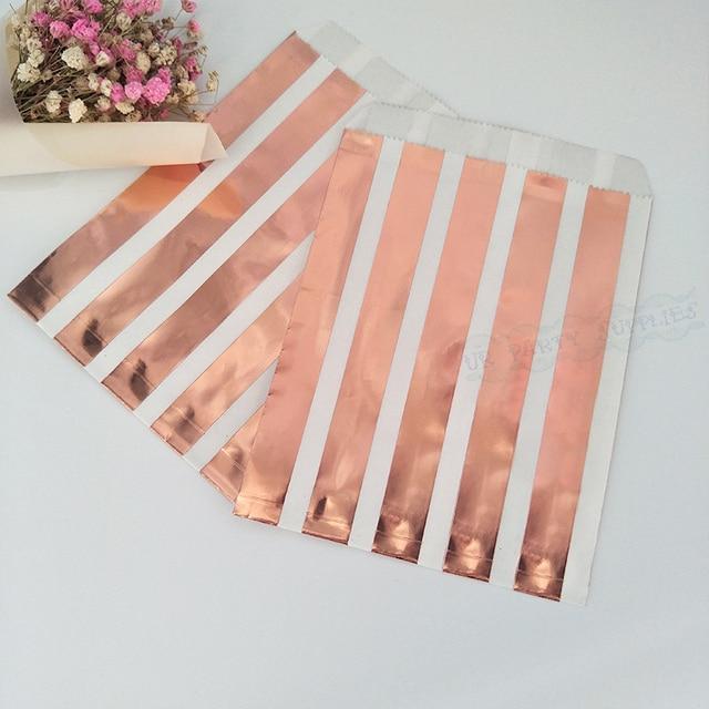 Sac de papier plat à rayures or Rose 100 pièces   Sac cadeau plat avec rayures à pois, boîte à bonbons, Snack cookies, paquet de friandises, fournitures demballage pour mariage et anniversaire