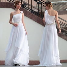 free shipping 2013 new design hot seller one shoulder mexi elegant quality fashion long slim white Bridesmaid Dresses