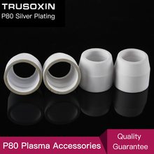 10pcs 80 100 120A Plasma Cutter Consumables Silver Ceramic Cups of p80 Plasma Cutting Gun and Torch high quality plasma cutting cutter torch p80 with 25pcs consumables and a pair of welding gloves