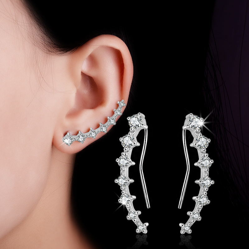 New High Quality Fashion Shiny Crystal 925 Sterling Silver Ladies Stud Earrings Jewelry Christmas Gift Wholesale Hot Sale in Stud Earrings from Jewelry Accessories
