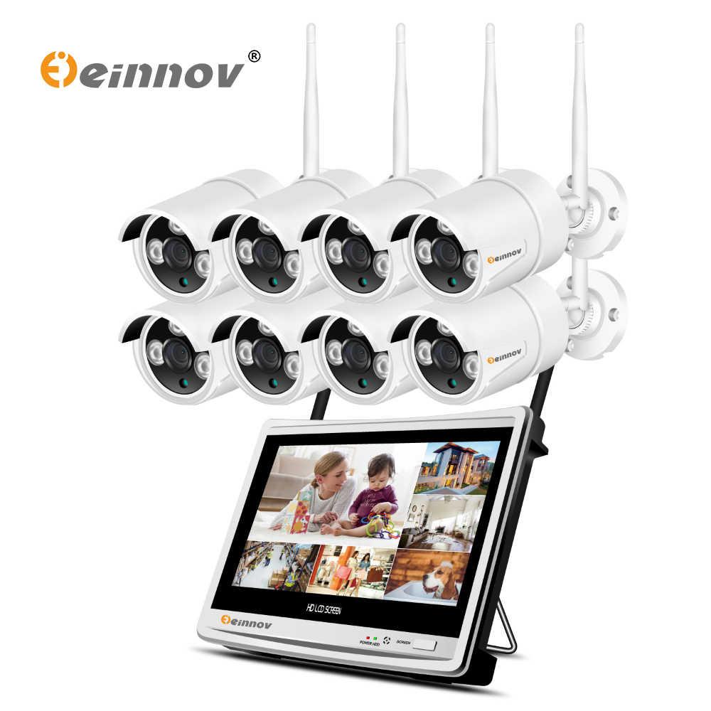 """Einnov 2MP 8CH 12 """"ЖК-дисплей HD CCTV Системы IP видео Камеры Скрытого видеонаблюдения Wifi 1080 P проектор для домашнего Беспроводной безопасности набор камеры NVR, HD, хорошие продажи, для использования на открытом воздухе"""
