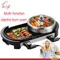 Многофункциональный Электрический бездымный гриль для барбекю блюдо Гриль Интерьер + горячий горшок 220В 1800 Вт