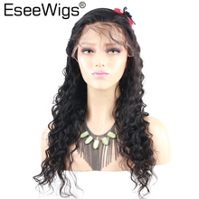 hot deal buy eseewigs deep wave full lace wig human hair with baby hair for black women pre plucked brazilian remy hair wigs bleached knots