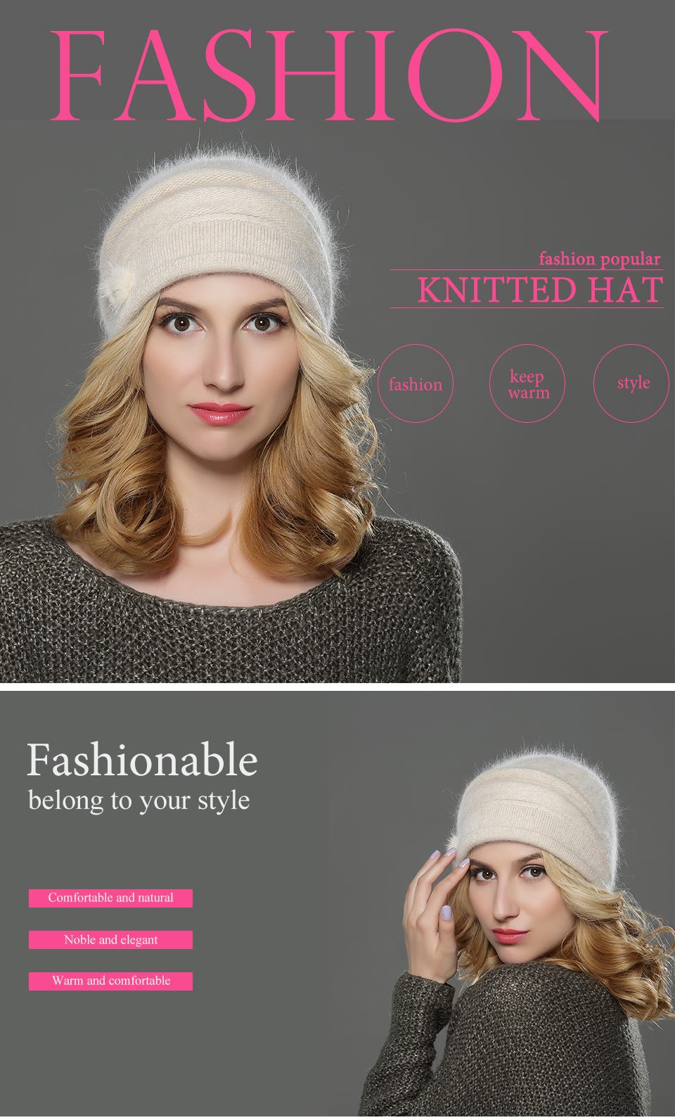 ebb3aad9290 LILIYABAIHE NEW Style Women Winter Beanies Hat Knitted Wool Angora ...