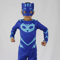 Child Boys Halloween PJ Mask Jumpsuit Costume Kids Unisex Catboy Owlette Gekko Cosplay Outfit Funny Birthday