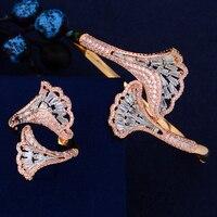 Trendy Flower Shape Indian Wedding Jewelry Sets Full Cubic Zirconia Resizable Bangle Bracelet Ring For Women Engagement