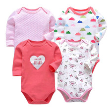 Newborn Bodysuit Baby Girl Boy Clothes 100%cotton Cartoon print Long sleeves Infant Clothing 4Pcs/lot 0-24 months