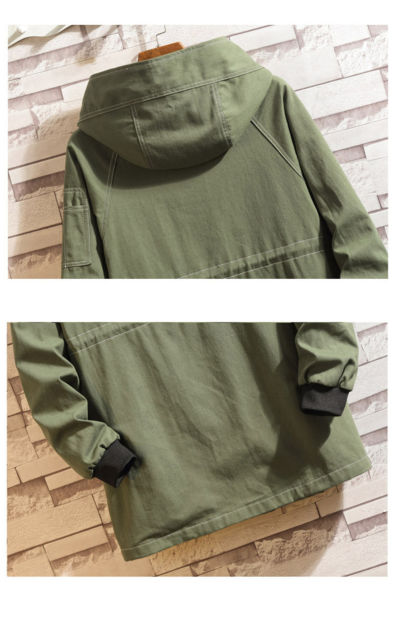 Army Green Trench Coat Men Korean Style Fashion Clothing Male Hooded Trench Coat Jacket   (23)