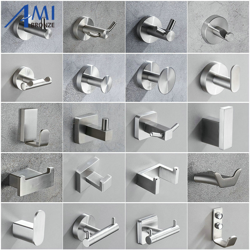 304 Brushed Stainless Steel Single Robe Hook Wall Mounted Towel Hook  Clothes Hook Bathroom Hardware