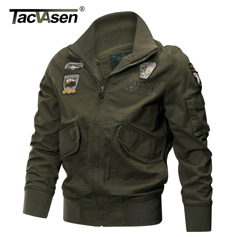 TACVASEN Military Jacket Men Winter Thermal Cotton Jacket Coat Army Pilot Jackets Air Force Cargo Coat