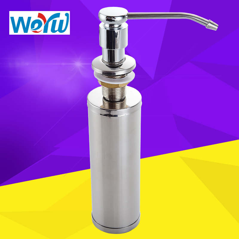 WEYUU Stainless Steel Liquid Soap Dispenser Kitchen Soap Box Kitchen Sink Bottle Liquid Soap Dispenser With Pump Wall M cheaper stainless steel liquid soap dispenser kitchen sink soap box free shipping chrome finished