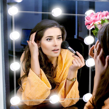Hollywood Style Makeup Mirror Vanity LED Light Bulbs Dimmable Comestic LED Makeup Mirror light String For Dressing Desk Table giantex white tri folding mirror vanity table stool set modern makeup dressing desk with 4 drawers wood dressers hw54073wh