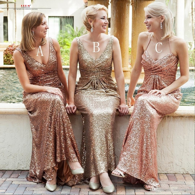 Robe de demoiselles d honneur pour mariage 2017V collar sexy mermaid gold  rose gold sequins bridesmaid dresses long plus size 6e4346c66727